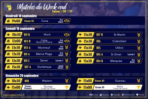 Matchs du week end 20 septembre