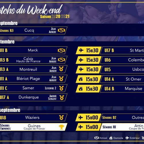 Matchs du 18, 19 et 20 Septembre 2020