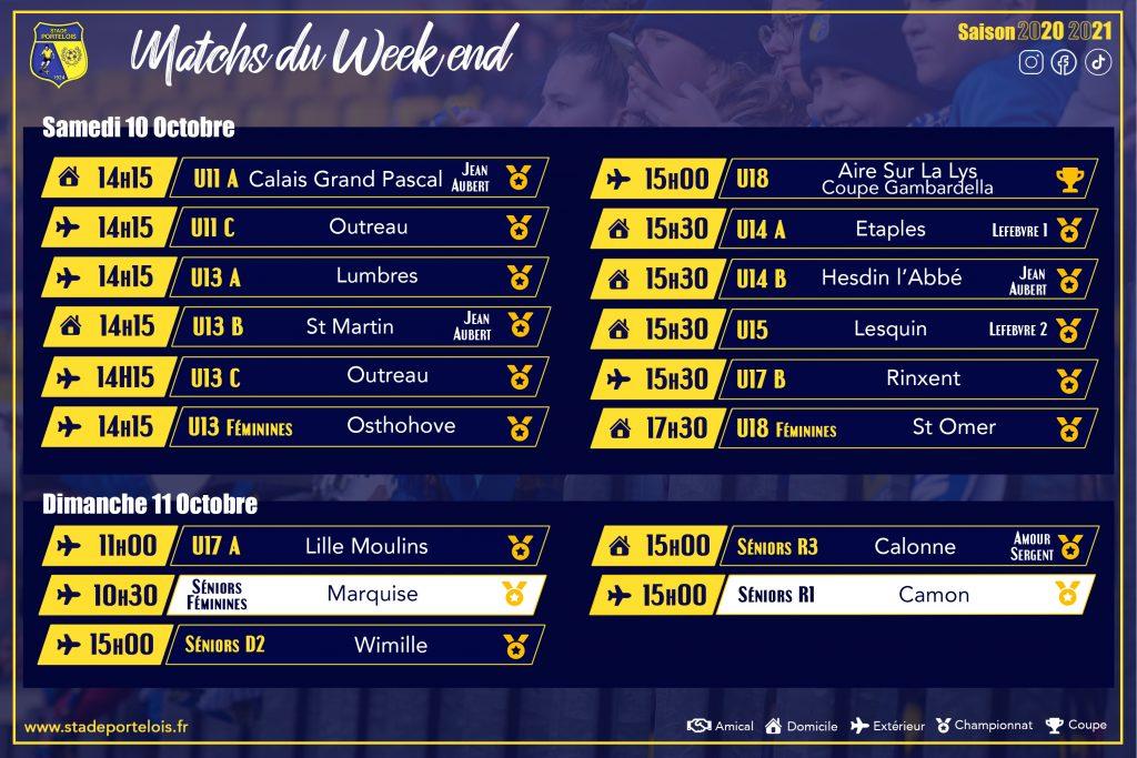 Matchs 10 et 11 octobre 2020